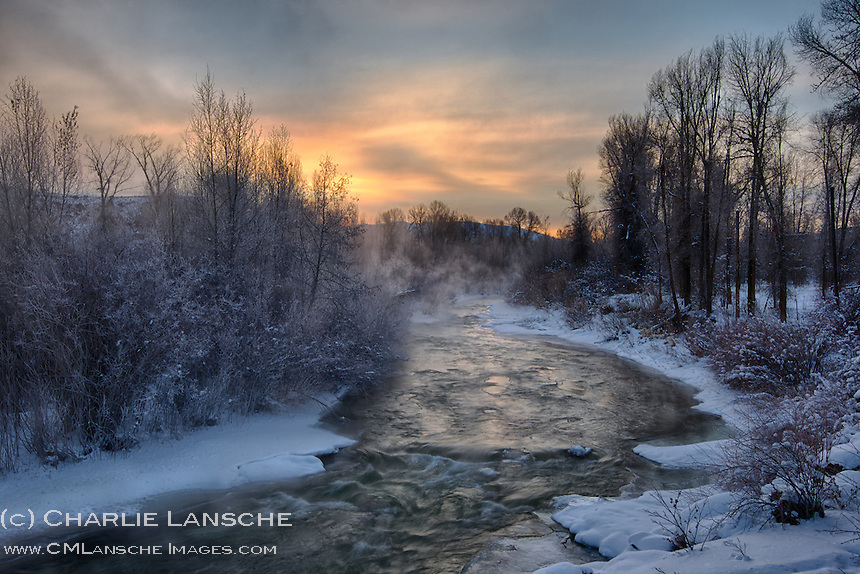 Deep Winter River. Mist rises above the upper Weber River at dawn today while the air temperature holds steady at 15 below zero. Near Peoa, Utah. January 14, 2013.