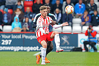 Ben Kennedy of Stevenage and Aaron Pierre of Wycombe Wanderers in action during the Sky Bet League 2 match between Stevenage and Wycombe Wanderers at the Lamex Stadium, Stevenage, England on 17 October 2015. Photo by PRiME Media Images.