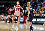 SIOUX FALLS, SD - MARCH 8: Ciara Duffy #24 of the South Dakota Coyotes looks to drive against the Oral Roberts Golden Eagles at the 2020 Summit League Basketball Championship in Sioux Falls, SD. (Photo by Dave EggenInertia)