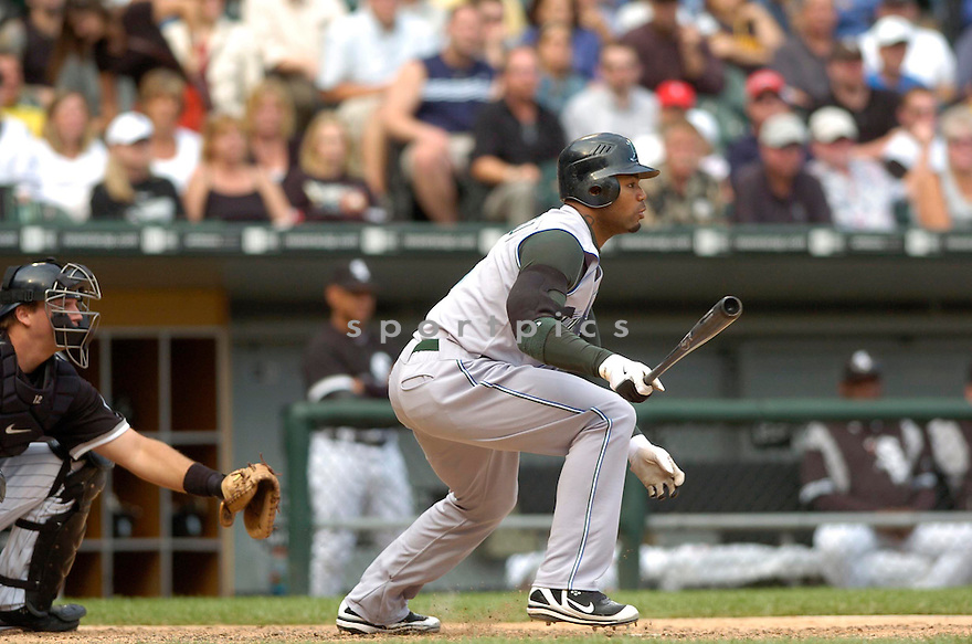 CARL CRAWFORD, of the Tampa Bay Devil Rays, in action against the Chicago White SOX on August 31, 2006 in Chicago...Devil Rays win 5-3..David Durochik / SportPics