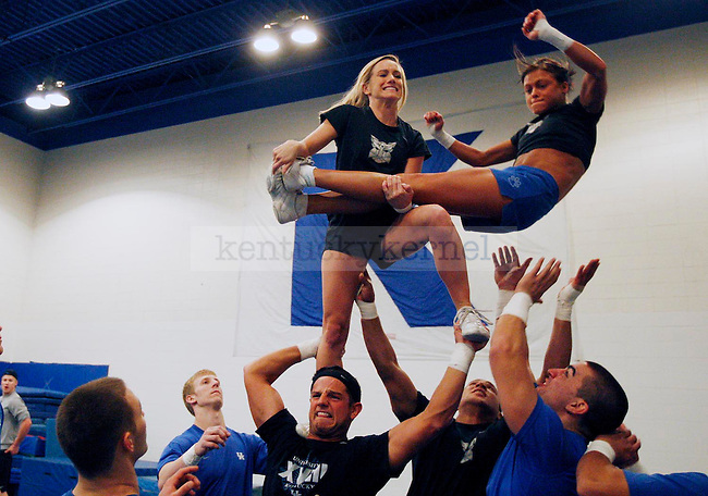 The UK Blue Squad practices their routine for nationals during a Tuesday night run through at the Seaton Center.