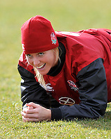 Guildford, England. Michaela Staniford of England Women's Sevens in training for Sevens World Series in round three in Atlanta, USA. Surrey Sports Park on March 5, 2015 in Guildford, England.