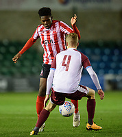 Lincoln City U18's Timothy Akinola vies for possession with South Shieldsy U18's Josh Elcoate<br /> <br /> Photographer Chris Vaughan/CameraSport<br /> <br /> The FA Youth Cup Second Round - Lincoln City U18 v South Shields U18 - Tuesday 13th November 2018 - Sincil Bank - Lincoln<br />  <br /> World Copyright © 2018 CameraSport. All rights reserved. 43 Linden Ave. Countesthorpe. Leicester. England. LE8 5PG - Tel: +44 (0) 116 277 4147 - admin@camerasport.com - www.camerasport.com