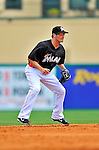 13 March 2012: Miami Marlins infielder Nick Green in action during a Spring Training game against the Atlanta Braves at Roger Dean Stadium in Jupiter, Florida. The two teams battled to a 2-2 tie playing 10 innings of Grapefruit League action. Mandatory Credit: Ed Wolfstein Photo