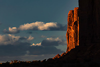 Edge of butte at sunset, Monument Valley, Arizona