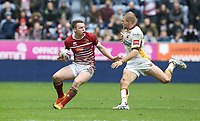 Wigan Warriors' Liam Marshall and Huddersfield Giants' Ryan Hinchcliffe <br /> <br /> Photographer Stephen White/CameraSport<br /> <br /> Betfred Super League Round 5 - Wigan Warriors v Huddersfield Giants - Sunday 19th March 2017 - DW Stadium - Wigan<br /> <br /> World Copyright &copy; 2017 CameraSport. All rights reserved. 43 Linden Ave. Countesthorpe. Leicester. England. LE8 5PG - Tel: +44 (0) 116 277 4147 - admin@camerasport.com - www.camerasport.com