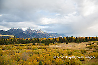 67545-09616 Fall color and Grand Teton Mountain Range from Blacktail Falls Overlook, Grand Teton National Park, WY