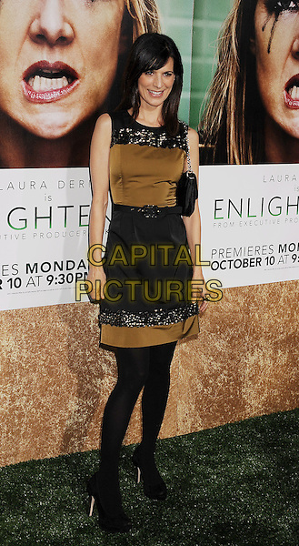 "Perrey Reeves.arriving at the Los Angeles Premiere of HBO's ""Enlightened"" at Paramount Theater on the Paramount Studios backlot in Hollywood, California on October 6th, 2011..full length black brown dress sequined sequin sleeveless  bag .CAP/ROT/TM.©TM/Rothstock/Capital Pictures"