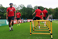 Gareth Bale and Ashley Williams warm up during the Wales Training Session at the Vale Resort, Hensol, Wales, UK. Tuesday 29 August 2017