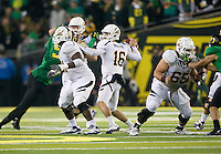 October 6th, 2011:  Allan Bridgford of California finds his receiver to throw during a game against Oregon Ducks at Autzen Stadium in Eugene, Oregon - Oregon defeated Cal 43 - 15