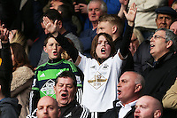 A Swansea fan cheers on his side during the Barclays Premier League match between AFC Bournemouth and Swansea City played at The Vitality Stadium, Bournemouth on March 12th 2016