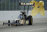Feb. 12, 2012; Pomona, CA, USA; NHRA top fuel dragster driver Tony Schumacher during the Winternationals at Auto Club Raceway at Pomona. Mandatory Credit: Mark J. Rebilas-