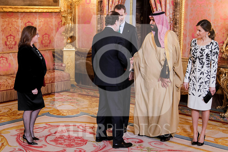 President of Spain, Mariano Rajoy, Queen Letizia of Spain and King Felipe VI of Spain before lunch in honor of Arabia Saudi heir prince, Mohámed bin Salmán at Royal Palace in Madrid, Spain. April 12, 2018. (ALTERPHOTOS/Borja B.Hojas)