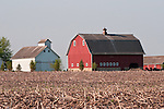 Red and barns with corn stubble in the field, Kendall Co., Ill.