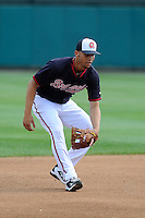 Shortstop Andrelton Simmons (19) of the Atlanta Braves works out before a Spring Training game against the New York Yankees on Wednesday, March 18, 2015, at Champion Stadium at the ESPN Wide World of Sports Complex in Lake Buena Vista, Florida. The Yankees won, 12-5. (Tom Priddy/Four Seam Images)