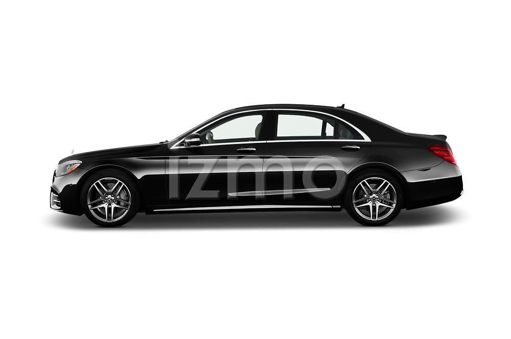 Car Driver side profile view of a 2018 Mercedes Benz S-Class 450 4 Door Sedan Side View