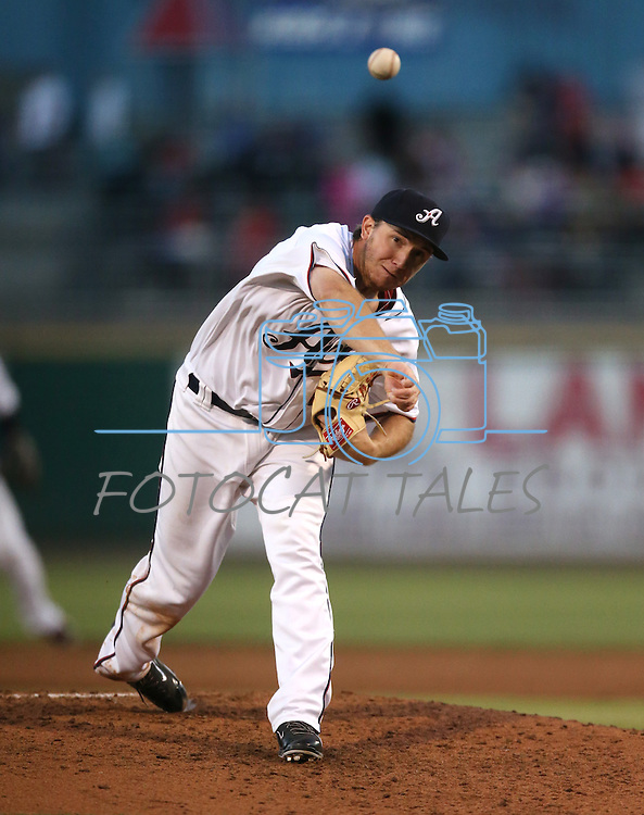 Reno Aces' A.J. Schugel pitches against the Albuquerque Isotopes in Reno, Nev., on Saturday, April 18, 2015. The Isotopes won 9-4.<br /> Photo by Cathleen Allison