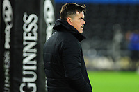 Head Coach Allen Clarke of Ospreys during the pre match warm up for the Guinness Pro14 Round 10 match between the Ospreys and Zebre at the Liberty Stadium in Swansea, Wales, UK.  Friday 30 November 2018
