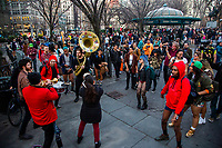 NEW YORK, NY - JANUARY 12: Participants of the No Pants Subway Ride dance at Union square after taking a ride on the NYC subway system on January 12, 2020 in New York. The annual event, in which participants board a subway car in January while not wearing any pants while behaving as though they do not know each other, began as a joke by the public prank group Improv Everywhere in New York City and has since spread around the world, with enthusiasts in around 60 cities and 29 countries across the globe, according to the organization's site.   (Photo by Pablo Monsalve/VIEWpress)