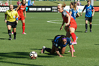 Kansas City, MO - Saturday May 13, 2017:  Sydney Leroux keeps eye on ball during a regular season National Women's Soccer League (NWSL) match between FC Kansas City and the Portland Thorns FC at Children's Mercy Victory Field.