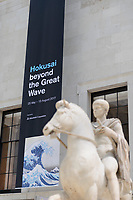 "Banner advertising the Hokusai exhibition, inside the British Museum, London, UK, June 21, 2017. ""Hokusai: beyond the Great Wave"" was an exhibition of the works of the ukiyoe woodblock print artist Katsushika Hokusai (1760-1849), held at the British Museum in London from 25 May to 13 August 2017. It focused on works from the last 30 years of the artist's life."