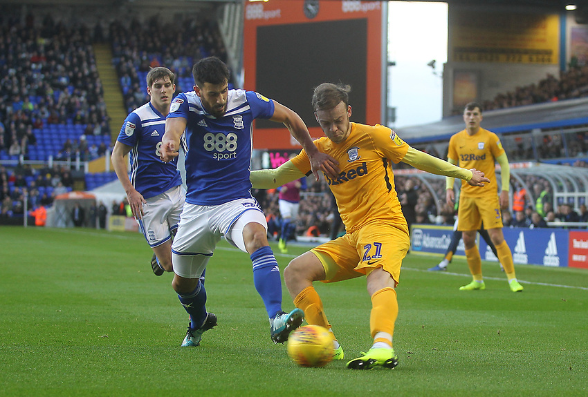 Preston North End's Brandon Barker in action with Birmingham City's Maxime Colin<br /> <br /> Photographer Mick Walker/CameraSport<br /> <br /> The EFL Sky Bet Championship - Birmingham City v Preston North End - Saturday 1st December 2018 - St Andrew's - Birmingham<br /> <br /> World Copyright © 2018 CameraSport. All rights reserved. 43 Linden Ave. Countesthorpe. Leicester. England. LE8 5PG - Tel: +44 (0) 116 277 4147 - admin@camerasport.com - www.camerasport.com