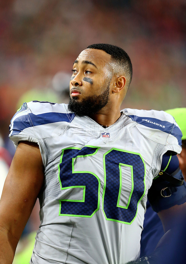 Jan 3, 2016; Glendale, AZ, USA; Seattle Seahawks linebacker K.J. Wright (50) against the Arizona Cardinals at University of Phoenix Stadium. Mandatory Credit: Mark J. Rebilas-USA TODAY Sports
