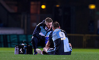 Medical staff see to Paul Hayes of Wycombe Wanderers before he is taken off injured during the Sky Bet League 2 match between Wycombe Wanderers and Crawley Town at Adams Park, High Wycombe, England on 28 December 2015. Photo by Andy Rowland / PRiME Media Images
