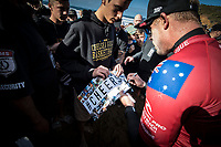 BELLS BEACH, Torquay, Victoria, Australia    (Monday, April 2, 2018) Mick Fanning (AUS) - Even though the Rip Curl Pro Bells Beach only ran the first six heats of men&rsquo;s Round 3 today, the second stop on the World Surf League (WSL) Championship Tour (CT) saw rattling upsets. Big names were dispatched from the draw today in four-to-six foot (1.2 - 2 metre) conditions at Bells Beach. Event organizers halted the Round 3 match ups after conditions deteriorated due to an incoming tide and strengthening onshore winds. <br /> <br /> Huge crowds continue to fill into Bells Beach as surf fans hoped to get one more glimpse of their hero Mick Fanning (AUS) as he surfs in his last event as a full time CT competitor. The three-time WSL Champion and four-time Rip Curl Pro Bells Beach event winner did not disappoint, taking down Hawaii&rsquo;s Sebastian Zietz in a blow-for-blow battle. Fanning&rsquo;s trademark arcs in the Bells Bowl saw him win and advance at his swan song event. <br /> <br /> Photo: joliphotos.com