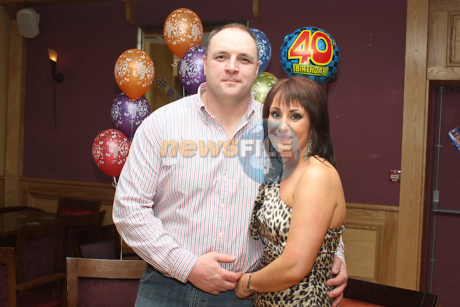 Martin Briscoe with his wife Nicola at his 40th in the Thatch...(Photo credit should read Jenny Matthews/www.newsfile.ie)....This Picture has been sent you under the conditions enclosed by:.Newsfile Ltd..The Studio,.Millmount Abbey,.Drogheda,.Co Meath..Ireland..Tel: +353(0)41-9871240.Fax: +353(0)41-9871260.GSM: +353(0)86-2500958.email: pictures@newsfile.ie.www.newsfile.ie.