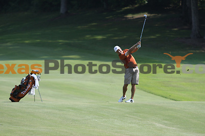 University of Texas redshirt senior Jonathan Schnitzer hits from the fairway during the Carpet Capital Collegiate at The Farm Golf Club in Rocky Face, Ga., on Sunday, Sept. 8. The Longhorns return to The Farm as defending champions after shooting a 13-under 851 in 2012.<br /> <br /> Photo by Patrick Smith