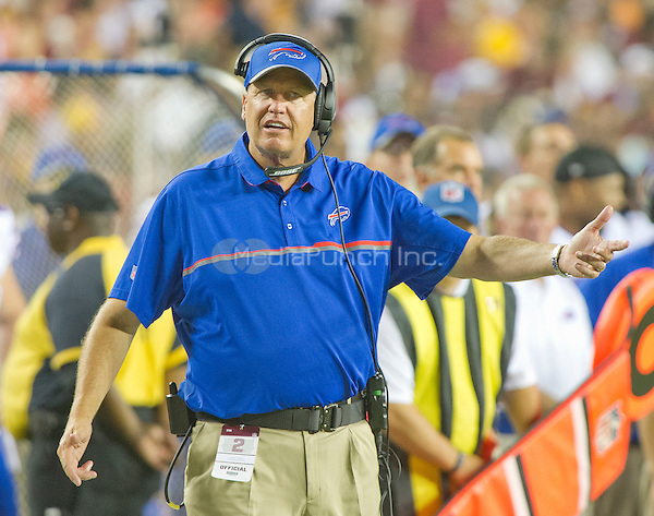 Buffalo Bills head coach Rex Ryan questions an official's call during the second quarter of the pre-season game against the Washington Redskins at FedEx Field in Landover, Maryland on Friday, August 26, 2016.  The Redskins won the game 21 - 16.<br /> Credit: Ron Sachs / CNP/MediaPunch ***FOR EDITORIAL USE ONLY***