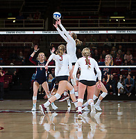 STANFORD, CA - December 1, 2018: Jenna Gray, Holly Campbell, Kate Formico at Maples Pavilion. The Stanford Cardinal defeated Loyola Marymount 25-20, 25-15, 25-17 in the second round of the NCAA tournament.