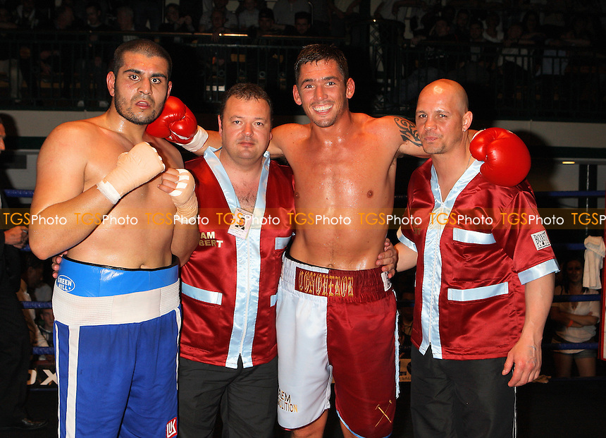 Tony Conquest (claret/blue shorts) defeats Tayar Mehmed in a Cruiserweight boxing contest at York Hall, Bethnal Green, promoted by Steve Goodwin - 24/04/10 - MANDATORY CREDIT: Gavin Ellis/TGSPHOTO - Self billing applies where appropriate - Tel: 0845 094 6026