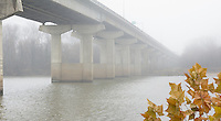 The Garrison Ave bridge over the Arkansas River at Fort Smith on a foggy fall morning.