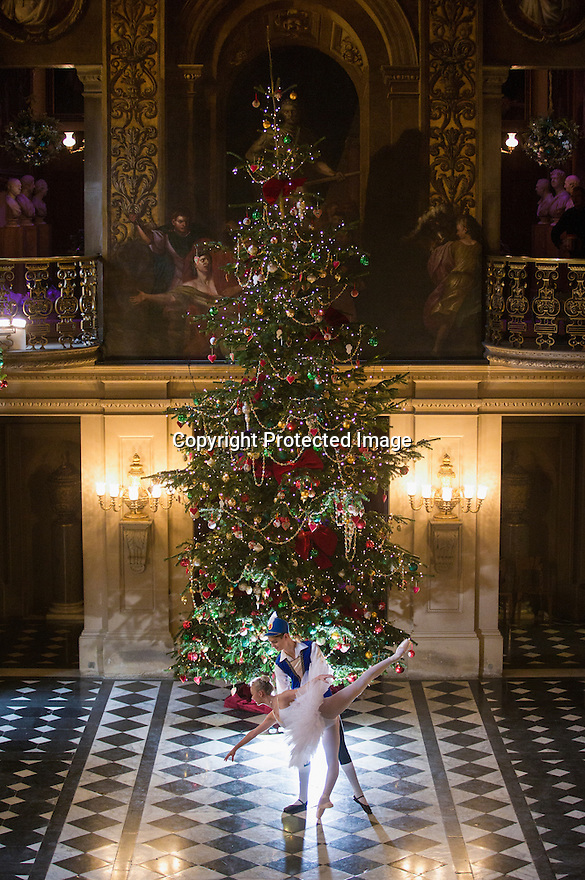 04/11/16<br /> <br /> Commission Mcc0073519 Assigned<br /> <br /> Daisy Kerry (17) and Benjamin Jones (15).<br /> <br /> Ballerinas pose for photographs in the Painted Hall at Chatsworth House to mark the start of the stately home's Christmas themed  'The Nutcracker'. Join Clara's adventures as she is swept away by her Nutcracker Prince until Jan 3 2017.<br /> <br /> All Rights Reserved F Stop Press Ltd. (0)1773 550665   www.fstoppress.com