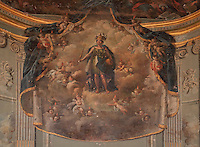 The goddess Minerva surrounded by cherubs, wall painting in the Third Order Chapel or Temple Decadaire in the Dominican convent, completed 1774 under Louis XVI, Perpignan, Languedoc-Roussillon, France. The initial religious theme was painted by Jacques Gamelin, succeeded under the Directoire and again modified by the occupying army during the July Monarchy, when it became a garrison Chapel. Picture by Manuel Cohen