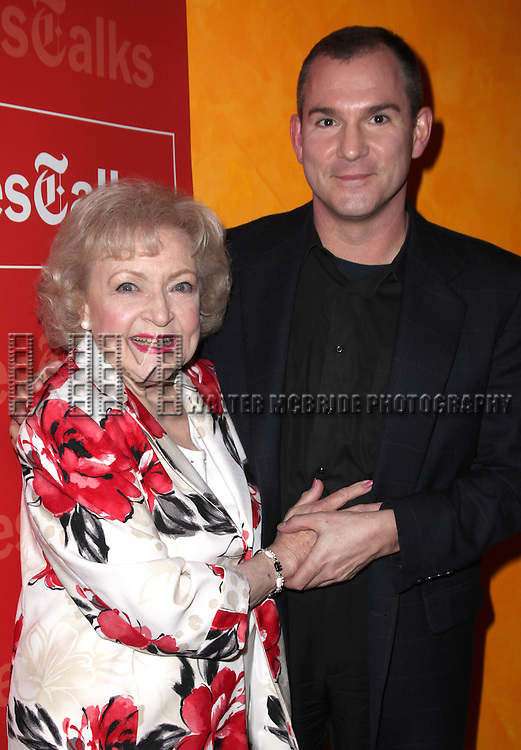 Frank Bruni & Betty White.attending the Times Talks with Betty White & Michael Stipe at Times Center in New York City.