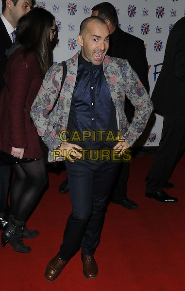 Louie Spence.The 'Viva Forever!' press night afterparty, Supernova, Embankment Gardens, London, England..December 11th, 2012.full length grey gray suit jacket pink floral print blue shirt black jeans denim hands on hips mouth open.CAP/CAN.©Can Nguyen/Capital Pictures.