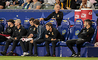 CARSON, CA - SEPTEMBER 21: Dominic Kinnear and the Los Angeles Galaxy bench during a game between Montreal Impact and Los Angeles Galaxy at Dignity Health Sports Park on September 21, 2019 in Carson, California.
