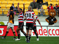 Counties-Manukau's Sonny Fisilau celebrates at the final whistle. ITM Cup - Wellington Lions v Counties-Manukau Steelers at Westpac Stadium, Wellington, New Zealand on Sunday, 8 August 2010. Photo: Dave Lintott/lintottphoto.co.nz.