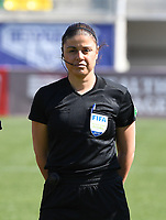 20190301 - LARNACA , CYPRUS : Cypriotic referee Androula Saitti Mouhtari pictured during a women's soccer game between Finland and Czech Republic , on Friday 1 March 2019 at the AEK Arena in Larnaca , Cyprus . This is the second game in group A for Both teams during the Cyprus Womens Cup 2019 , a prestigious women soccer tournament as a preparation on the Uefa Women's Euro 2021 qualification duels. PHOTO SPORTPIX.BE | DAVID CATRY