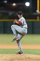 AZL Indians 2 relief pitcher Jose Oca (69) delivers a pitch during an Arizona League game against the AZL Cubs 2 at Sloan Park on August 2, 2018 in Mesa, Arizona. The AZL Indians 2 defeated the AZL Cubs 2 by a score of 9-8. (Zachary Lucy/Four Seam Images)