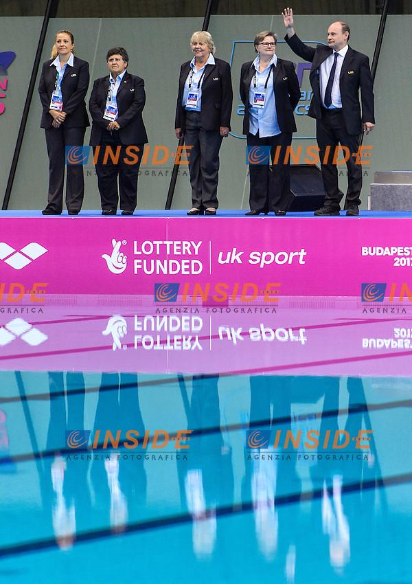 JUDGES <br /> Team Technical Final <br /> London, Queen Elizabeth II Olympic Park Pool <br /> LEN 2016 European Aquatics Elite Championships <br /> Synchronized Swimming <br /> Day 01 09-05-2016<br /> Photo Andrea Staccioli/Deepbluemedia/Insidefoto