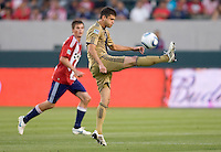 Philadelphia Union defender Cristian Arrieta (26) with a clearing ball. The Philadelphia Union and CD Chivas USA played to 1-1 draw at Home Depot Center stadium in Carson, California on Saturday evening July 3, 2010..