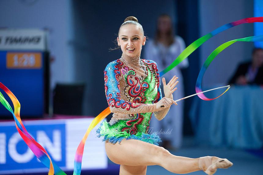 MARINA  DURUNDA of Azerbaijan performs with ribbon at 2016 European Championships at Holon, Israel on June 18, 2016.