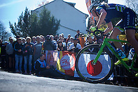 Jessie Walker (GBR/Matrix) up the infamous Mur de Huy (1300m/9.8%)<br /> <br /> Flèche Wallonne Féminine 2015