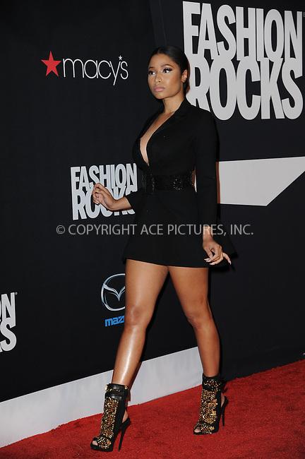WWW.ACEPIXS.COM<br /> September 9, 2014 New York City<br /> <br /> Nicki Minaj attending Fashion Rocks 2014 at the Barclays Center on September 9, 2014 in New York City.<br /> <br /> Please byline: Kristin Callahan/AcePictures<br /> <br /> ACEPIXS.COM<br /> <br /> Tel: (212) 243 8787 or (646) 769 0430<br /> e-mail: info@acepixs.com<br /> web: http://www.acepixs.com