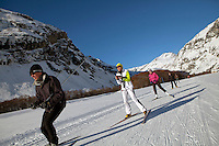 Cross country skiing between Bessans and Bonneval sur Arc, Savoie, France, 17 February 2012.