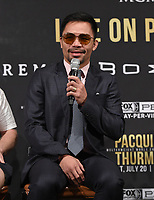 "BEVERLY HILLS - MAY 22: Manny Pacquiao attends a press conference in Beverly Hills for the Premier Boxing Champions on FOX Sports Pay-Per-View fight against Keith ""One Time"" Thurman on July 20 in Las Vegas. (Photo by Frank Micelotta/Fox Sports/PictureGroup)"
